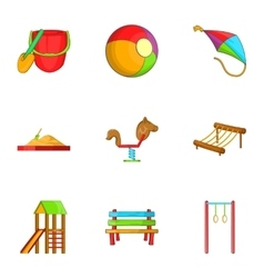 Swings for kid icons set cartoon style vector image