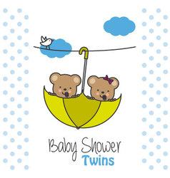 Twins baby shower bears vector