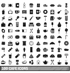 100 cafe icons set simple style vector image