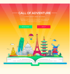Call of adventure - line travel vector