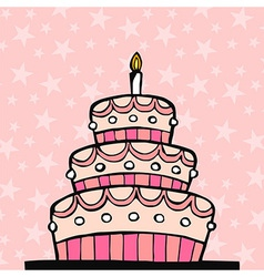 Pink birthday cake vector