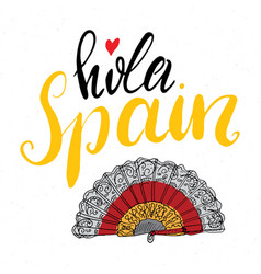 Hello spain hand drawn greeting card with vector
