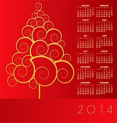 2014 Red Christmas Calander vector image vector image