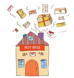Post office with many letters and boxes vector image