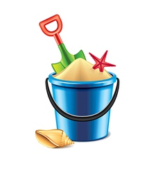 Toy bucket with sand isolated vector