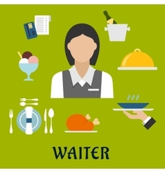 Waitress with restaurant utensil and food vector