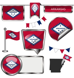 Glossy icons with arkansan flag vector