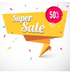 Super sale origami banner vector