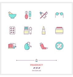 Pharmacy line icons set vector