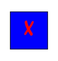 Cross red sign in blue square vector