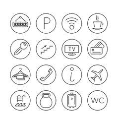 Hotel services line thin icons set vector