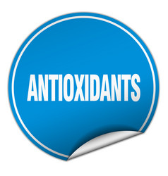 Antioxidants round blue sticker isolated on white vector