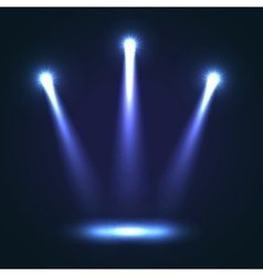 Background with three bright spotlights vector