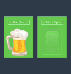 Beer fest collection of posters with full mug vector