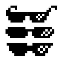 Black pixel glasses thug lifestyle for vector