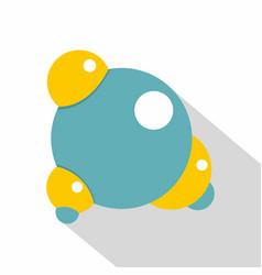 blue molecule icon flat style vector image