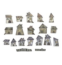 Cartoon fairy tale drawing houses vector image vector image