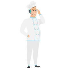 Caucasian chef cook in headset with microphone vector