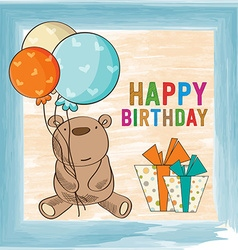 childish birthday card with teddy bear vector image vector image