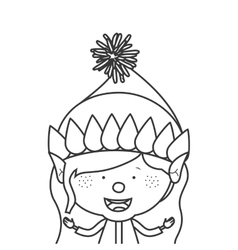 contour with half body gnome girl vector image vector image