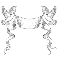 Doves outline vector