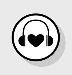 Headphones with heart flat black icon in vector