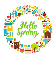 Hello spring flat circle vector