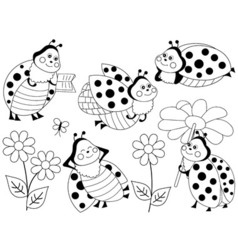 Ladybugs set vector