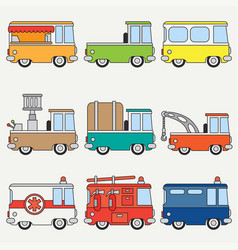 line flat color icon set cute retro city vector image