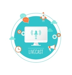 Livecast or Web Stream Computer with vector image