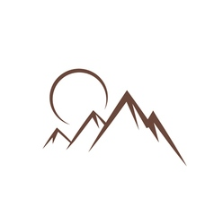 mountain sunset symbol vector image