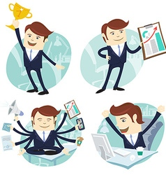 Office man set showing a graph Happy worker at his vector image
