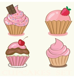 Set Cute background with small cupcake vector image vector image