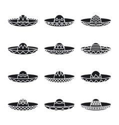 set of mexican sombrero hat vector image