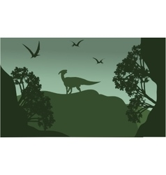 Silhouatte of parasaurolophus and pterodactyl vector image vector image