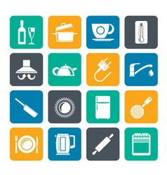 Silhouette kitchen objects and accessories icons vector image