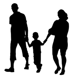 silhouette of couples with baby vector image
