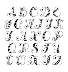 Sketch alphabet font vector image vector image