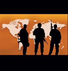three soldiers and a map of the world vector image vector image