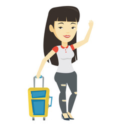 young woman hitchhiking vector image
