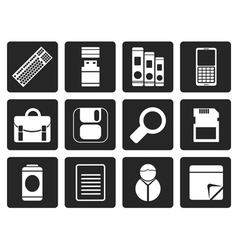 Black Business and Office tools icons vector image