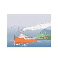 Steamship Steamboat Vintage vector image