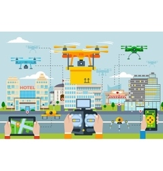 Big city modern technologies concept vector