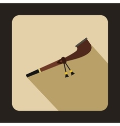 Indian smoking pipe icon flat style vector image
