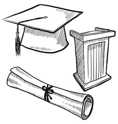 Doodle graduation cap diploma scroll vector