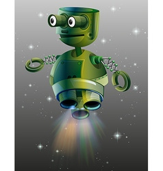 Green robot flying in the space vector image
