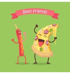 Best friends sausage on stick and pizza dancing vector