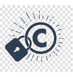 Silhouette icon of protection of copyright vector