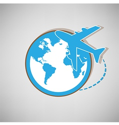 Airplane globe symbol design icon vector