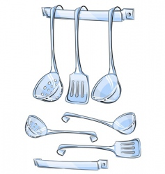 Set kitchen utensils vector